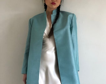 dcf82d2ab1e 90s silk dupioni coat blazer / vintage Ellen Tracy robins egg blue raw silk  dupioni open front mandarin princess coat long blazer | M