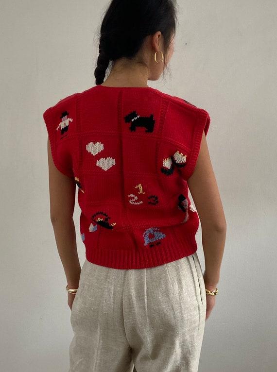 80s hand knit folk sweater vest gilet / vintage r… - image 8