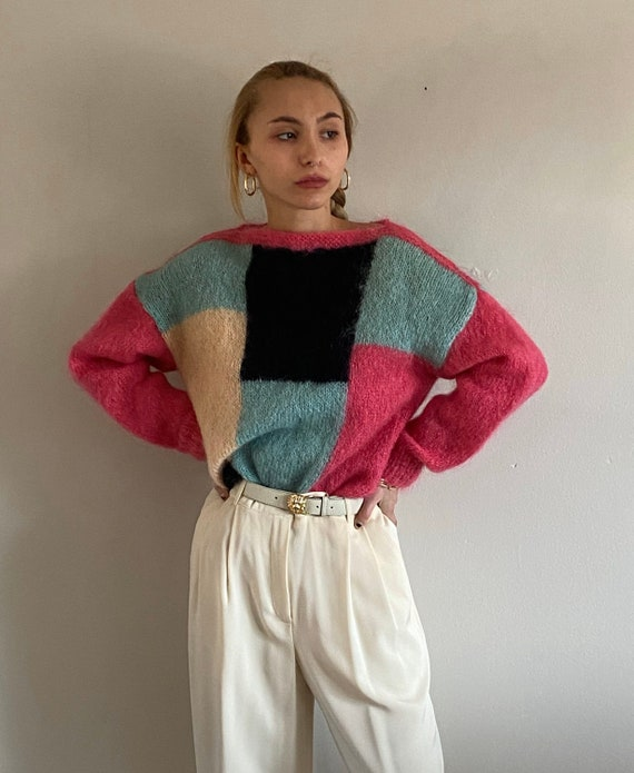80s hand knit mohair sweater / vintage fuchsia rob