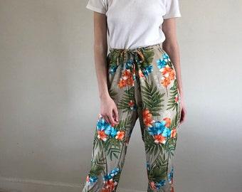 Hawaiian print drawstring pants / high waisted lounge pants / cropped pants   s m l