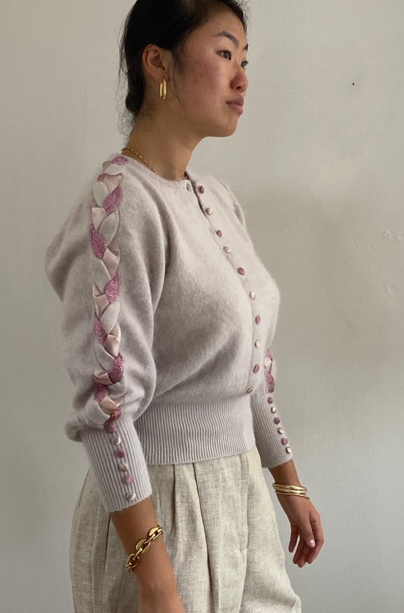 90s angora braided sweater / vintage dusty mauve p