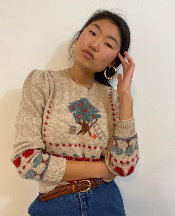 80s scenic puff sleeve sweater / vintage cream wo… - image 7