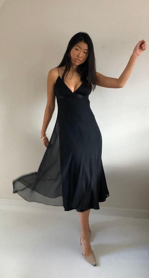 90s silk chiffon long slip dress / vintage black s