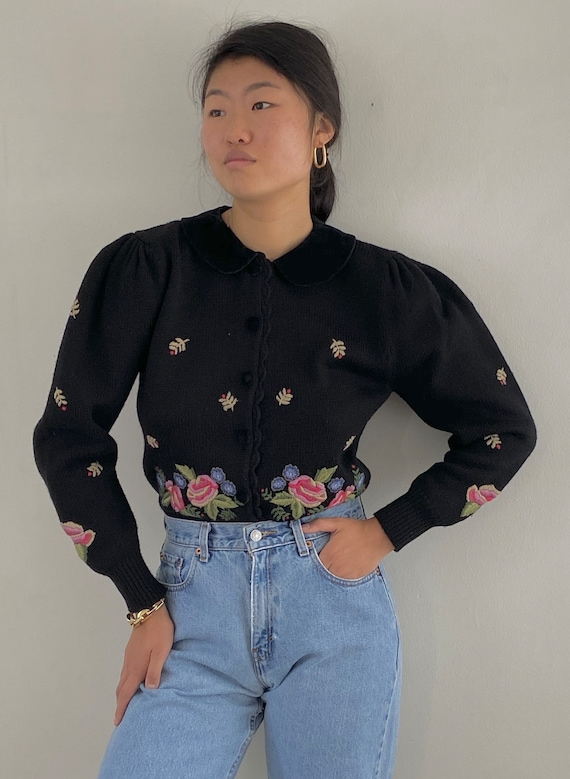 90s puff sleeve embroidered cardigan / vintage bla