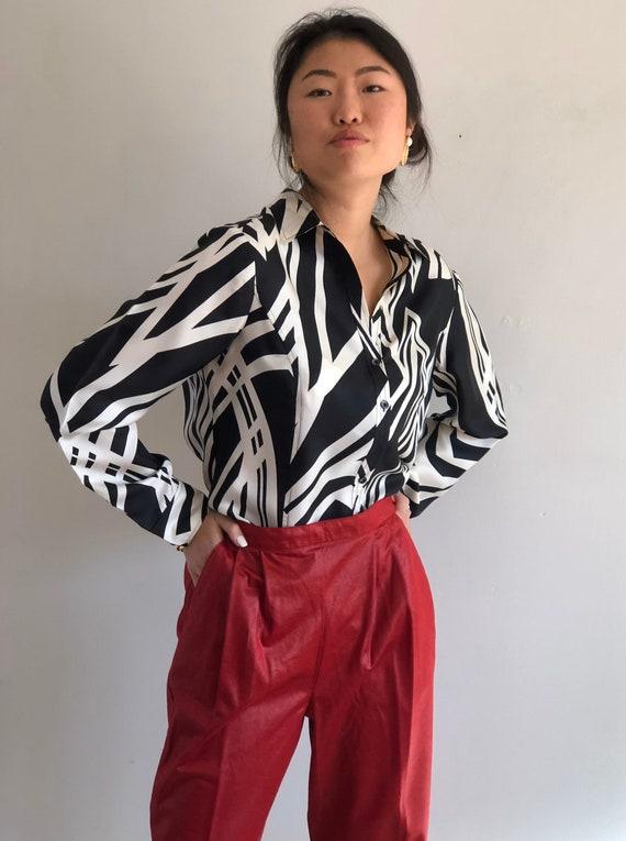 90s silk zebra blouse / vintage black white zebra