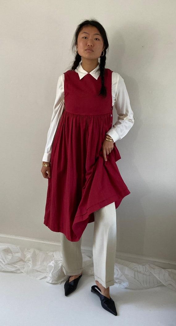 80s Laura Ashley pinafore dress / vintage garnet … - image 6