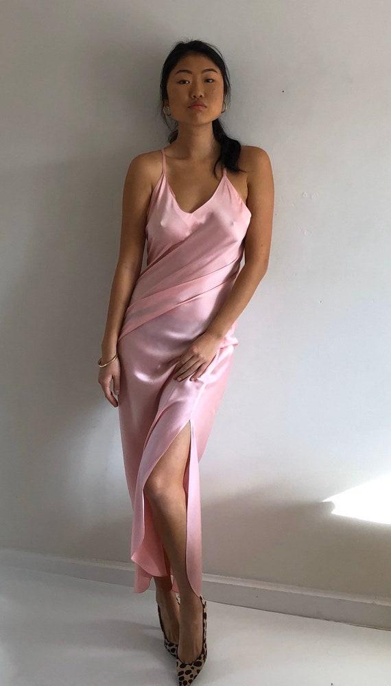 90s silk charmeuse long slip dress / vintage blush