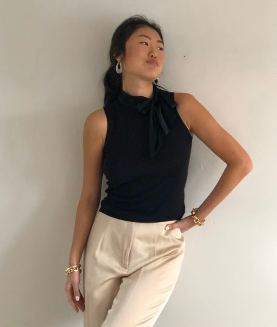 90s silk + cashmere pussy bow sweater tank / vint… - image 2