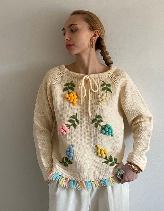 60s embroidered wool sweater / vintage ivory wool