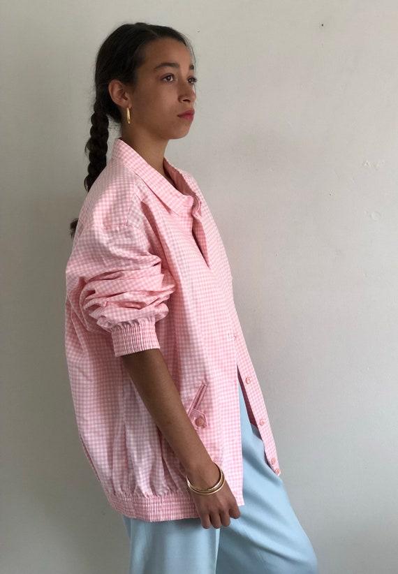 80s gingham bomber jacket / vintage pink cotton g… - image 2