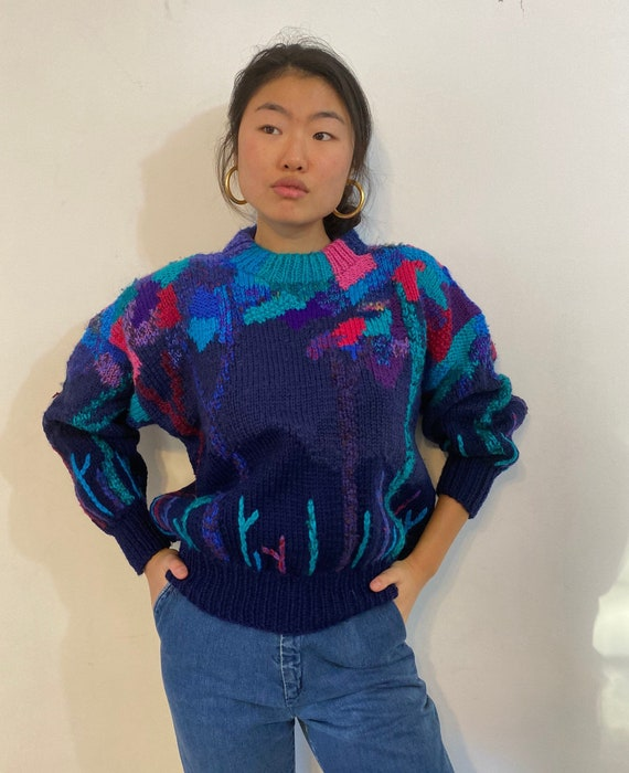 80s hand knit scenic sweater / vintage navy blue … - image 5