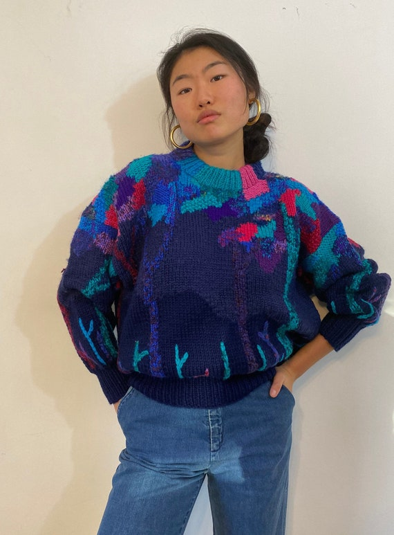 80s hand knit scenic sweater / vintage navy blue … - image 2