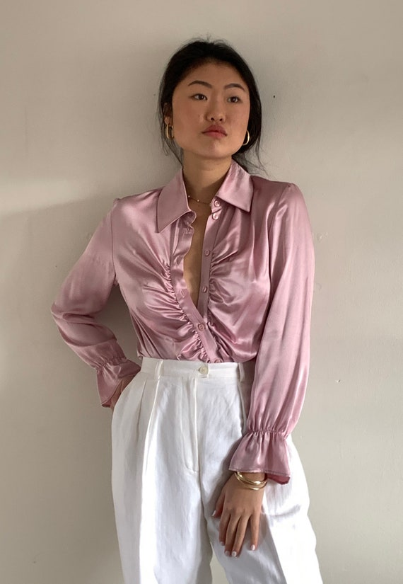 90s silk charmeuse poet blouse / vintage blush pin