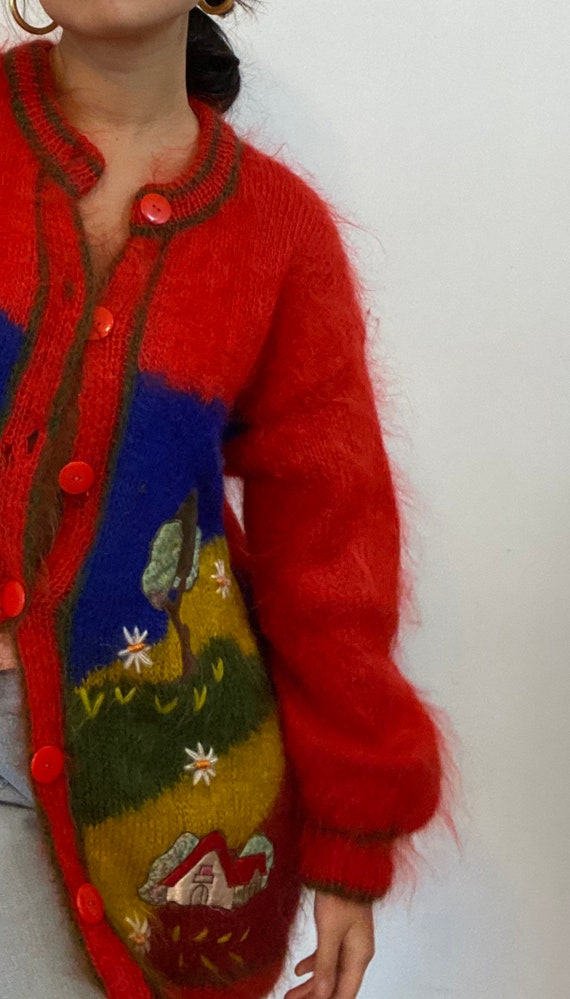 80s scenic mohair cardigan sweater / vintage hand… - image 8