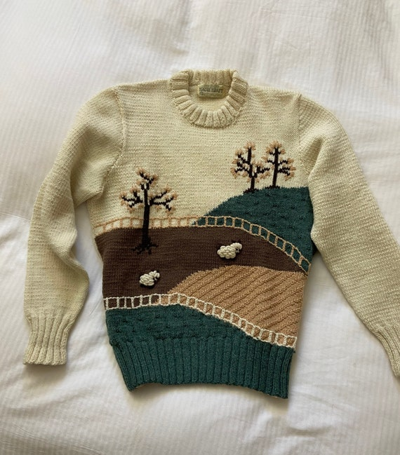 70s hand knit scenic farm sheep sweater / vintage… - image 1
