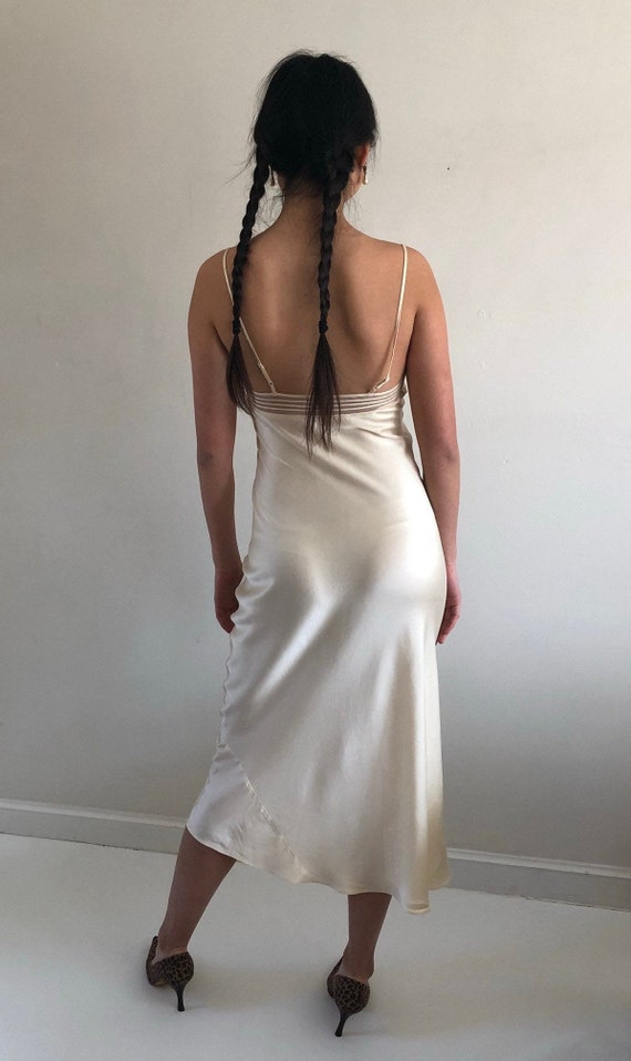 90s silk charmeuse long slip dress / vintage crea… - image 8