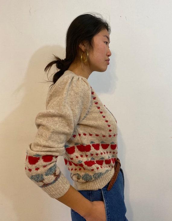 80s scenic puff sleeve sweater / vintage cream wo… - image 6