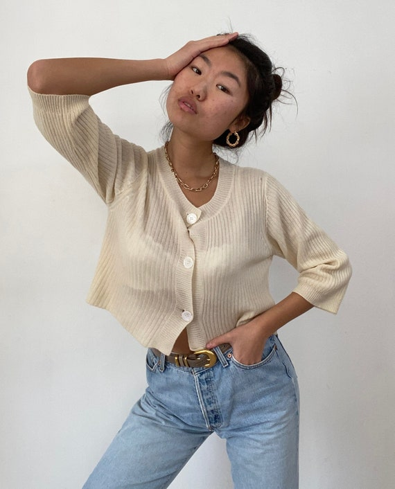 90s cashmere cropped sweater / vintage ivory cream