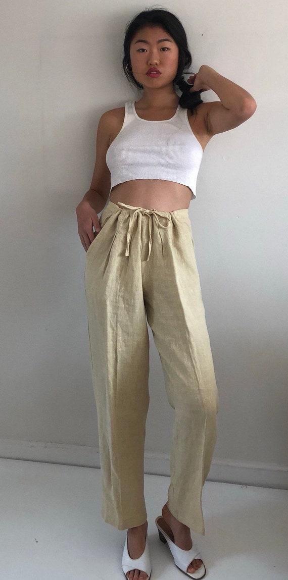 80s linen pant suit / vintage buttercream raw wov… - image 8