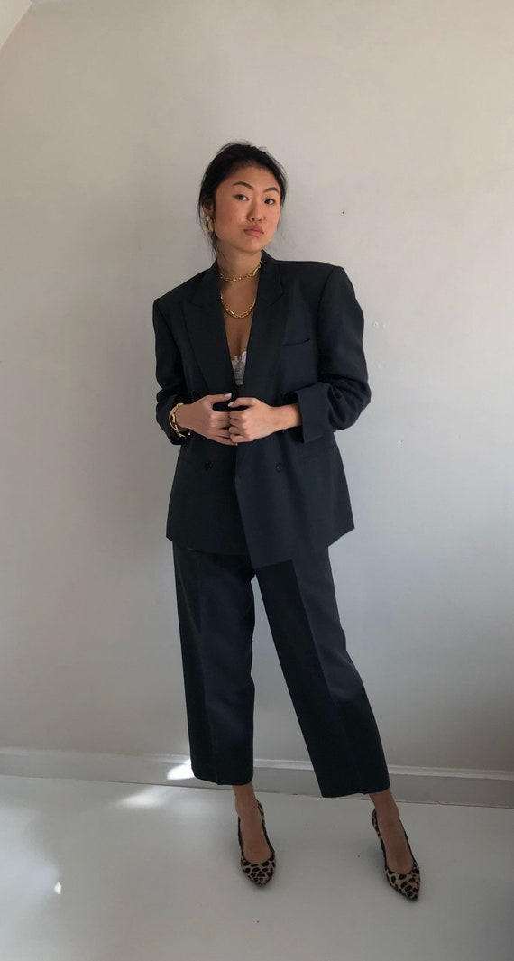 90s double breasted wool pant suit / vintage over… - image 6