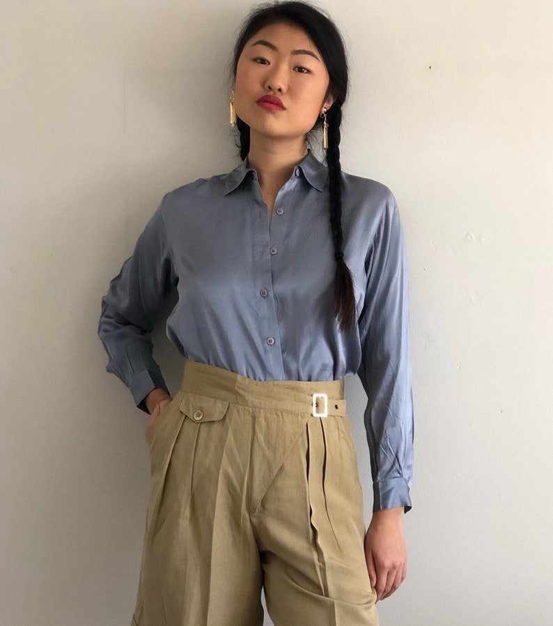97715e879daff 90s silk charmeuse blouse / vintage arctic blue liquid silk charmeuse satin  blouse / minimalist light icy slate blue satin silk blouse XS S