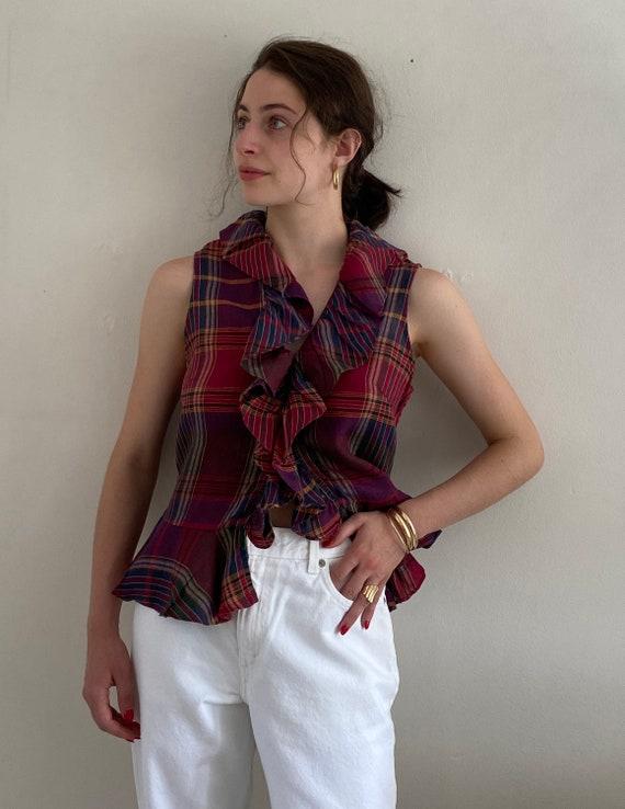 90s Ralph Lauren linen ruffle blouse / vintage ma… - image 7