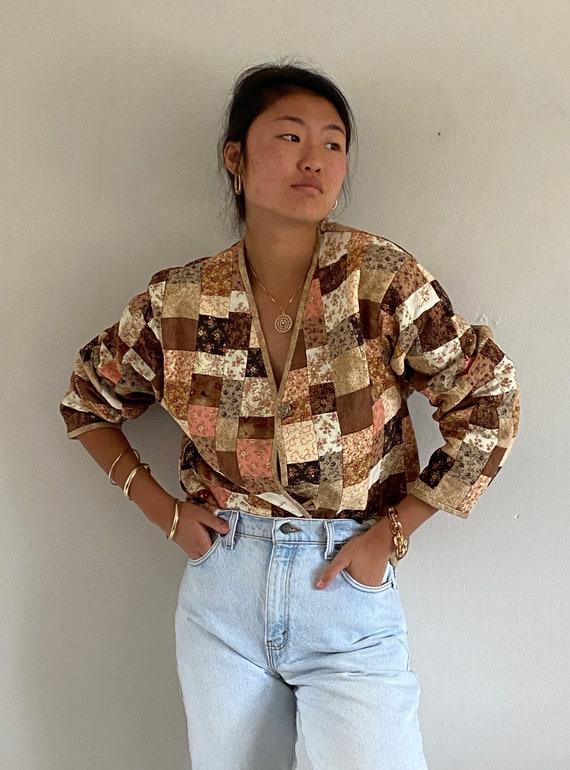 70s patchwork quilt blazer jacket / hand made vint