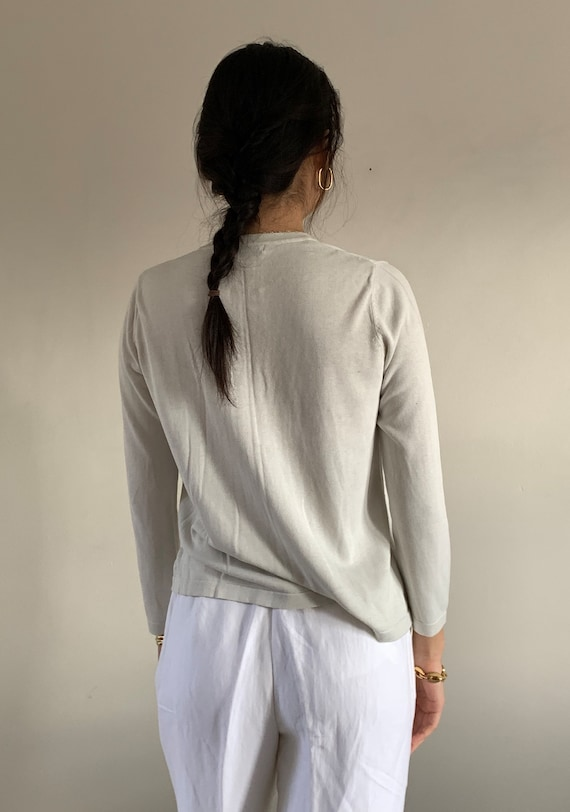 90s silk button front sweater / vintage pearl gra… - image 6