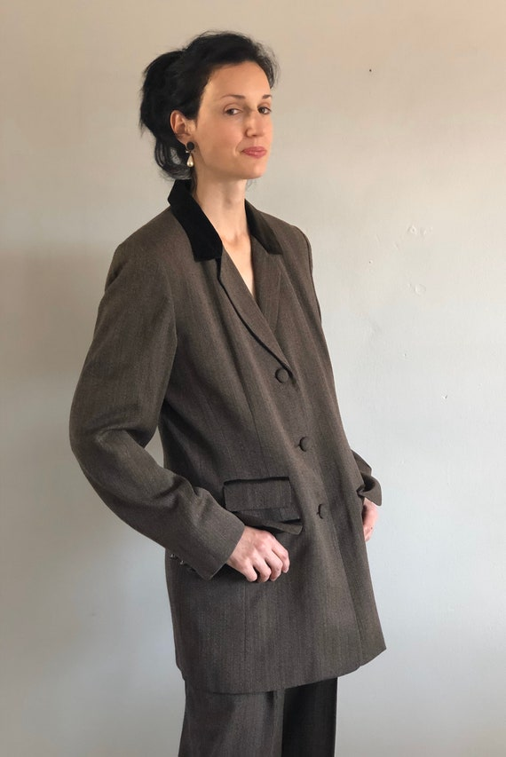 90s tweed pant suit / vintage wool brown equestri… - image 6