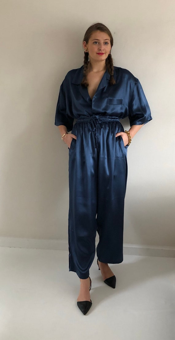 90s silk charmeuse pant suit / vintage blue liqui… - image 7