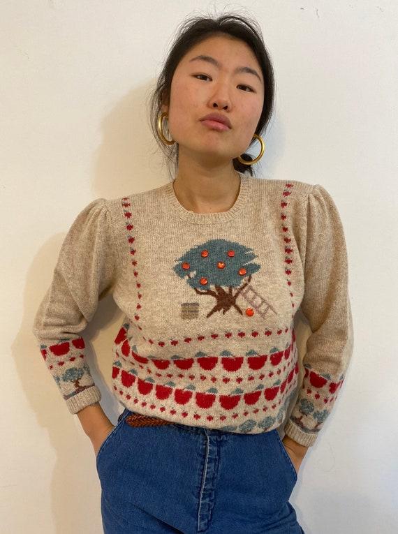 80s scenic puff sleeve sweater / vintage cream wo… - image 4