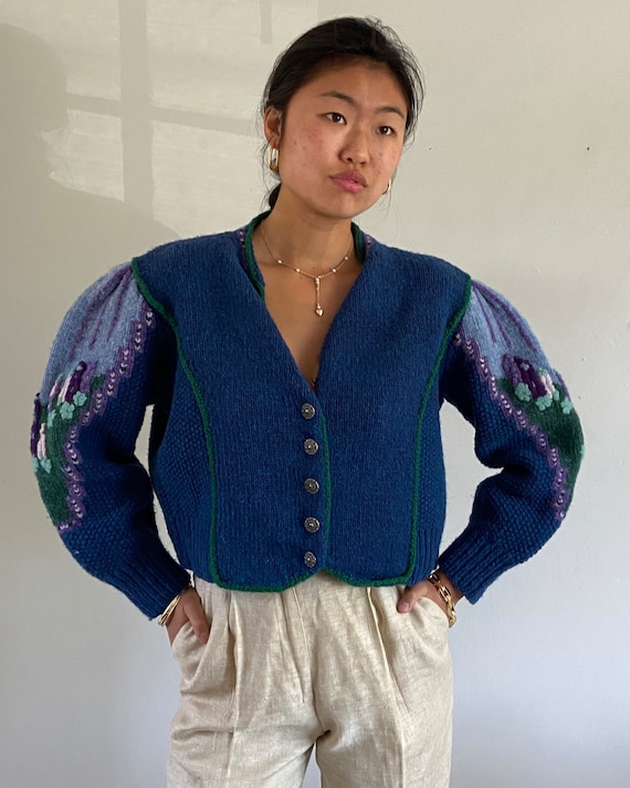 80s rare handknit embroidered puff sleeve sweater
