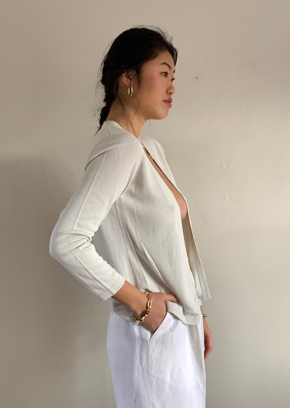 90s silk button front sweater / vintage pearl gra… - image 3