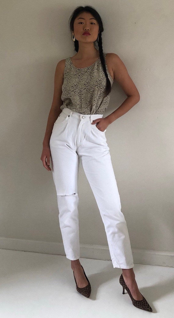 80s white pleated jeans / vintage white denim high