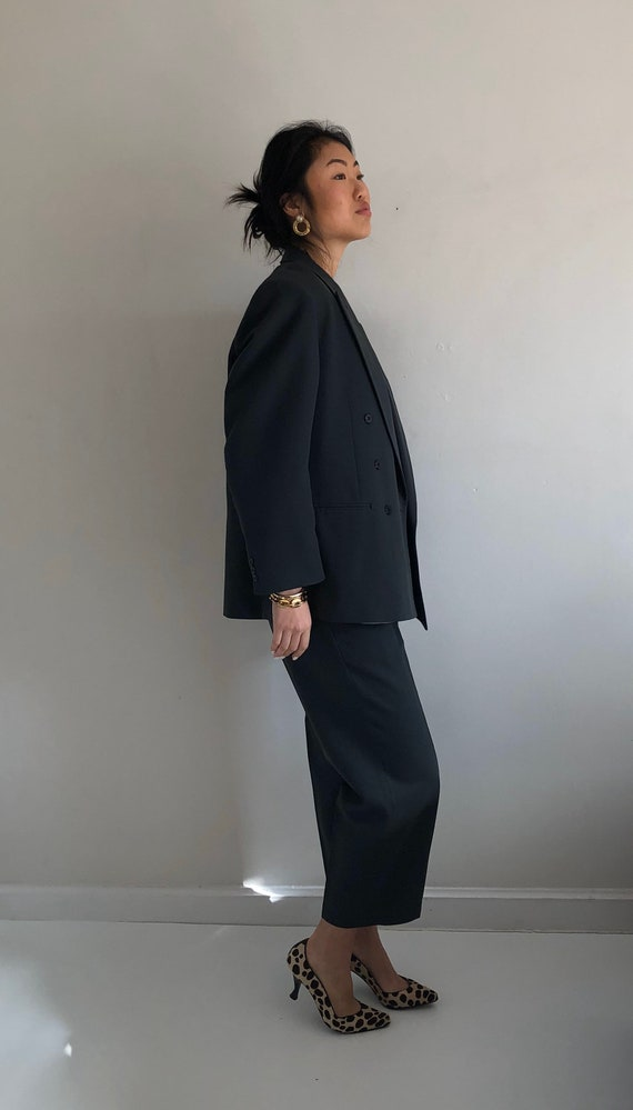 90s double breasted wool pant suit / vintage over… - image 4