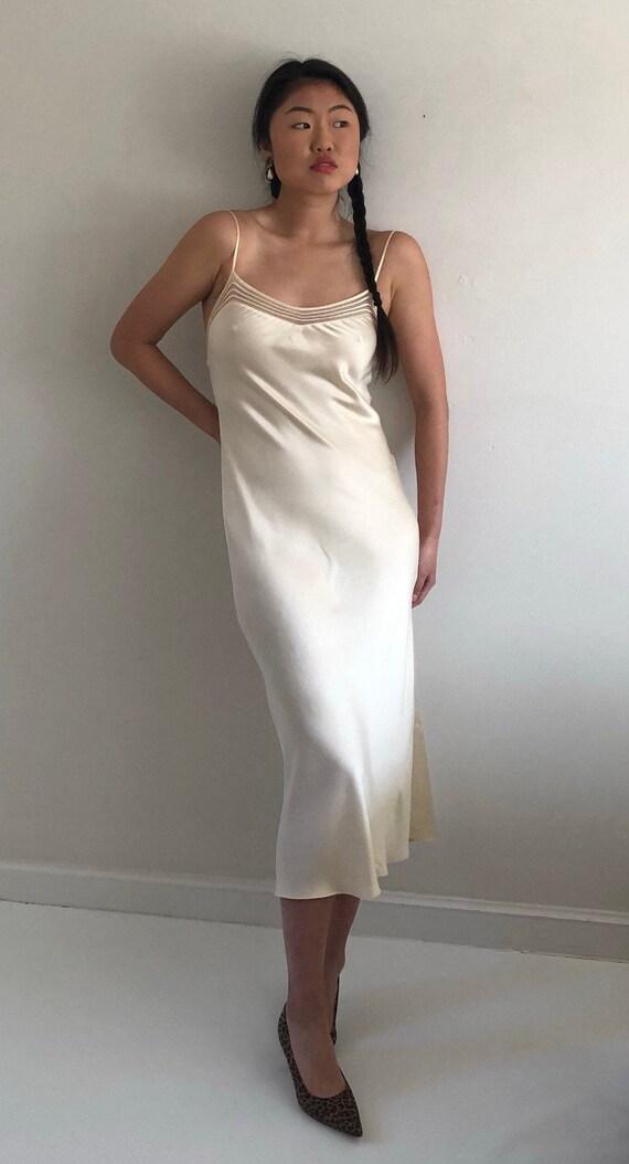 90s silk charmeuse long slip dress / vintage crea… - image 6