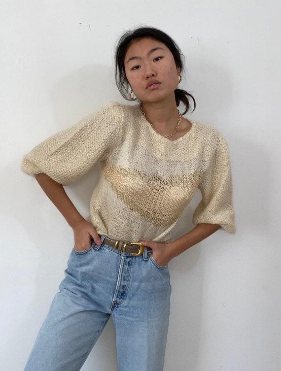 80s hand knit puff sleeve angora sweater / vintage