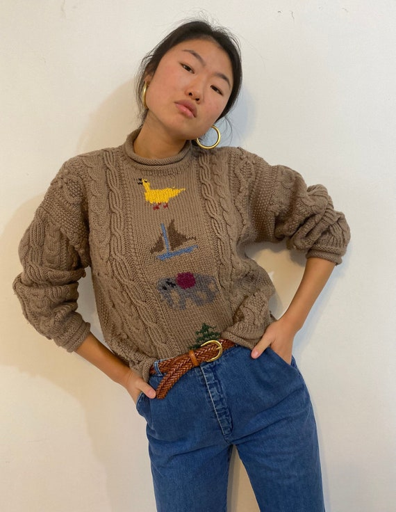 90s hand knit folklore sweater / vintage camel woo