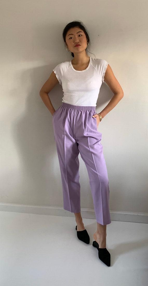 80s easy pants / vintage lilac lavender elastic wa