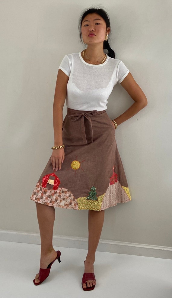 70s hand made appliqué wrap skirt / vintage handma