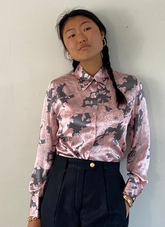 90s silk charmeuse floral print blouse / vintage b