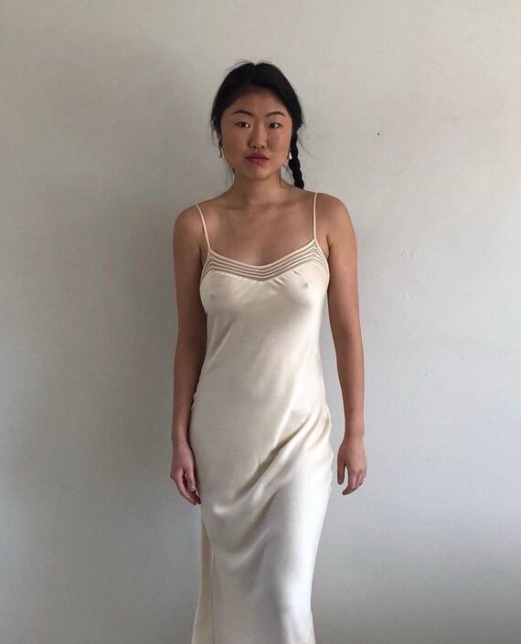 90s silk charmeuse long slip dress / vintage crea… - image 9