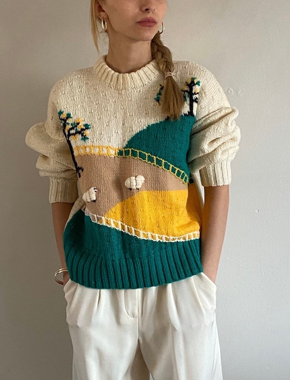 70s hand knit scenic farm sheep sweater / vintage… - image 5