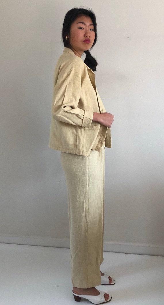 80s linen pant suit / vintage buttercream raw wov… - image 6