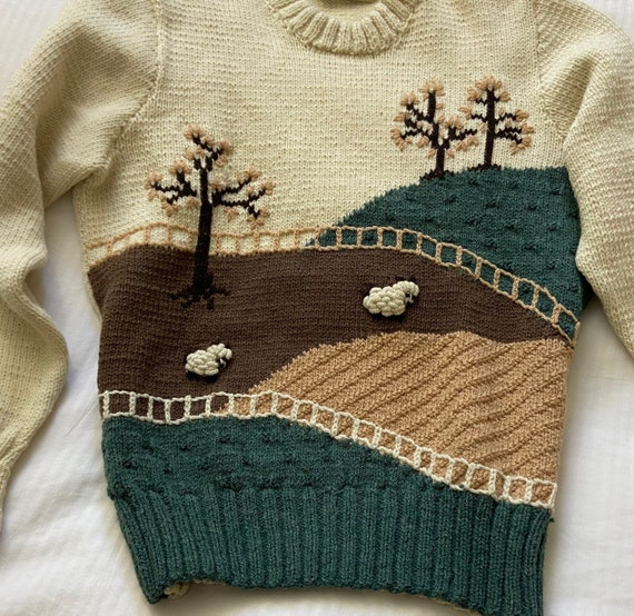 70s hand knit scenic farm sheep sweater / vintage… - image 2