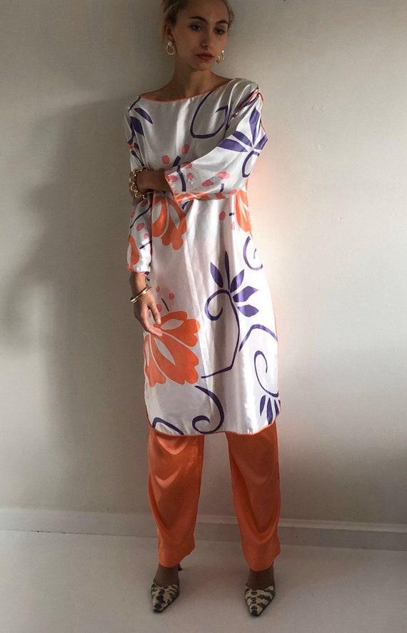 80s Mary McFadden lounge suit / vintage liquid sat