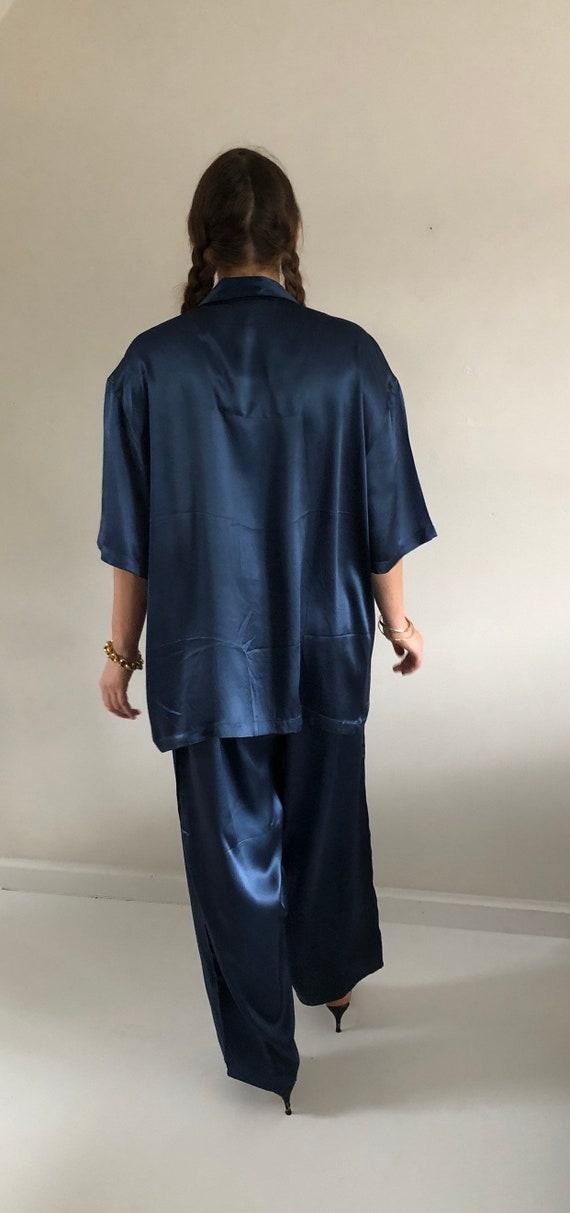 90s silk charmeuse pant suit / vintage blue liqui… - image 10