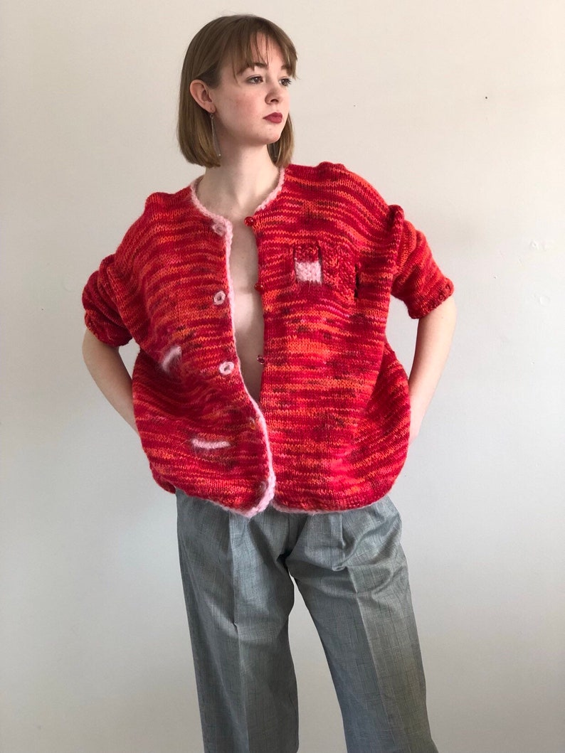 d6cd0e7627 80s hand knit wool mohair sweater   oversized space dyed red pink orange  thick k... 80s hand knit wool mohair sweater   oversized space dyed red pink  orange ...