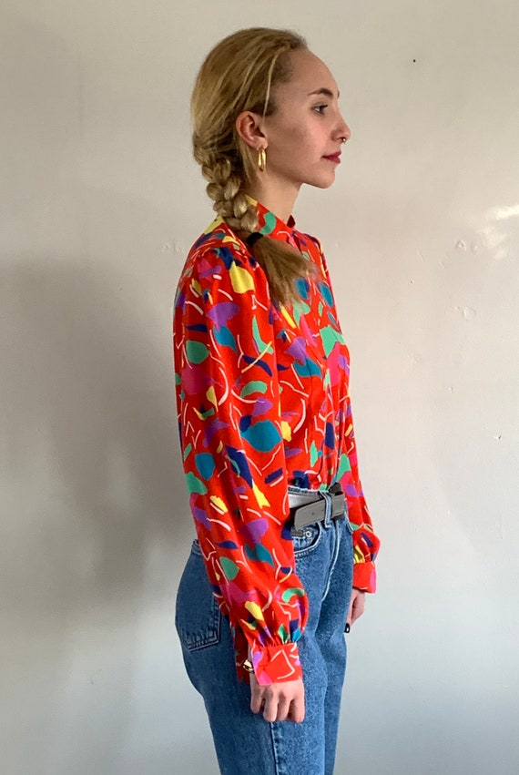 90s mandarin puff sleeve blouse / vintage red abs… - image 2