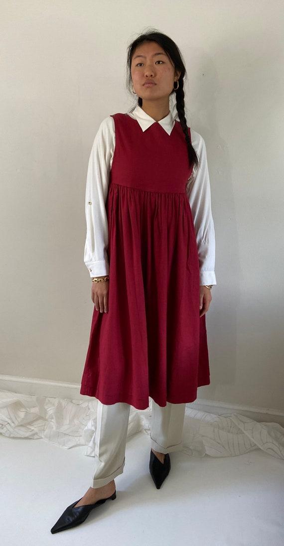 80s Laura Ashley pinafore dress / vintage garnet … - image 7